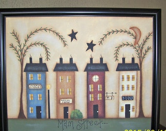 Primitive Saltbox House Framed 8 x 10 Canvas Home Decor Wall Art Picture