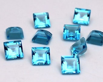 8mm Swiss Blue Topaz Faceted Square - 1 piece