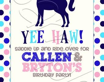 Printable Gender Neutral Horse Birthday Party Invitation