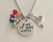 """Disney inspired Little Mermaid necklace """"part of your world"""" Ariel hand stamped dinglehopper snarfblat Disney Jewelry charm necklace"""