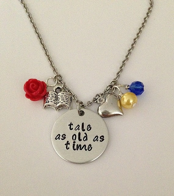 Disney inspired beauty and the beast necklace tale as for Disney beauty and the beast jewelry