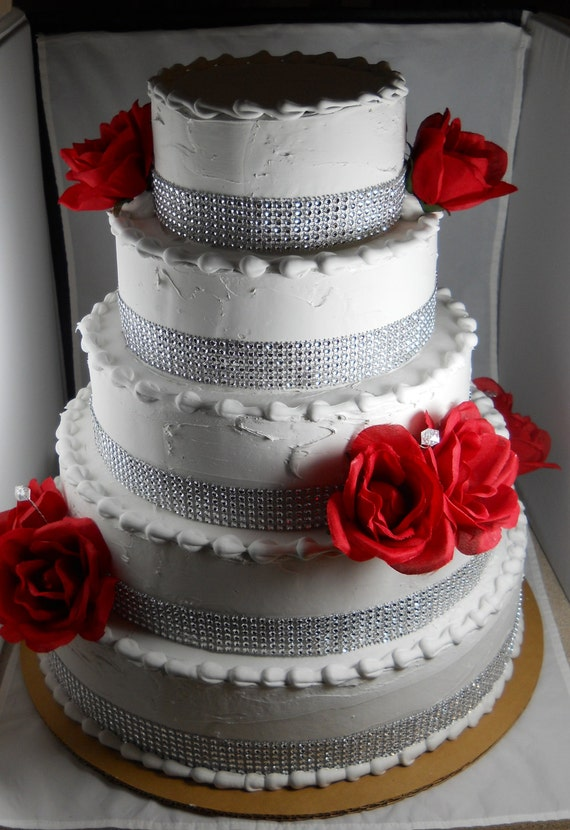 how to make a pretend wedding cake 5 layer wedding cake with rhinestones faux roses 15827