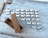 Vintage Antique French complete box of 28 dominos , double six /wood and bone.