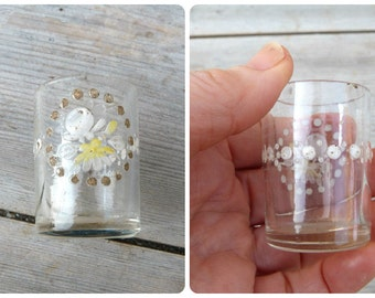 Vintage Antique 1900 old French enamel handpainted 1 tumbler glass / liquor / cordial