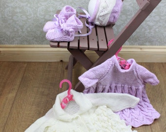 KNITTING PATTERN For Lorrie's Baby Dress, Hat & Booties PDF 138 Digital Download