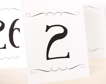 Fancy Printable Table Number Tent Cards Elegant DIY You print Instant Download Set 30 4.25x5 finished size