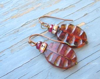 Lamp work handmade earrings, in leaf design