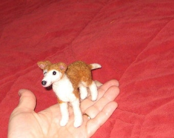 Needle Felted Dog / Custom Pet Portrait / Your Dog in Miniature / Poseable / example Italian Greyhound / blind dog Faith / Cute small size