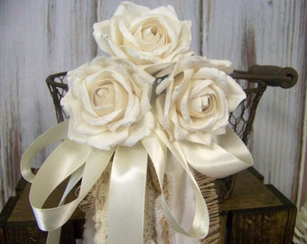 Rustic Flower Girl's Wedding Basket Chicken wire with Paper Roses and strings of lace, burlap, and muslin frabric