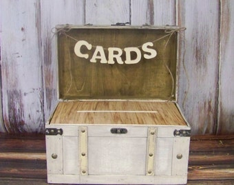 Wedding Card Box with Slot, Shabby Chic Card Box, Advice Box, Shabby Chic Wedding, Ivory/Gray Card Box, Wooden Card Box, Rustic Weddding