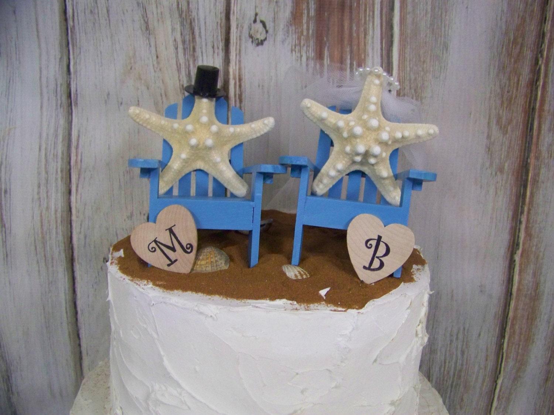 Beach Wedding Cake Topper Starfish Cake Topper Adirondack