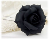 Black Rose Hair Clip Pin - Black Hair Flower