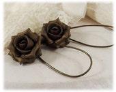 Bronze Rose Drop or Dangle Earrings - Bronze Flower Jewelry