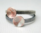 Sterling Silver and Mokume Gane Stacking Rings,  Stacking Drops,  Two Rings, Mixed Metal Rings, Sterling silver, Brass