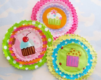 Bright Cupcake Sewn Fabric Embellishments Set of Three