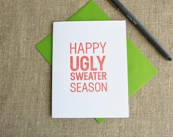 Letterpress Holiday Card - Happy Ugly Sweater Season