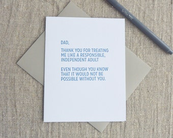 Letterpress Greeting Card - Father's Day - Straight Talk - Responsible Adult - 507-005