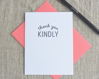 Letterpress Greeting Card  - Stuff My Friends Say - Thank You Kindly - 113-006