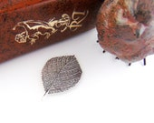 SILVER (2 Pieces) Aspen Leaf - Birch Leaf Stampings - Jewelry Antique Silver Findings (FB-6034) #