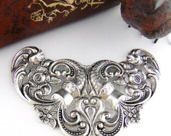 CLOSEOUT SALE Antique Silver Art Nouveau Cartouche Plaque Floral Stamping ~ Jewelry Findings (C-803) #