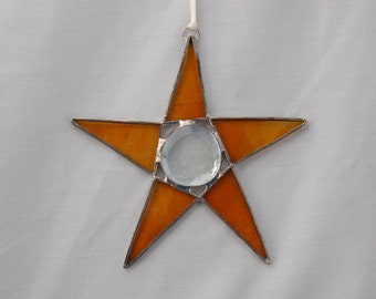 Stained Glass Ornament -  Star with Glass Bead