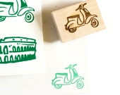 Vespa Scooter Rubber Stamp / Retro Scooter / Vintage Vespa / Cute Stamp / Hand Drawn