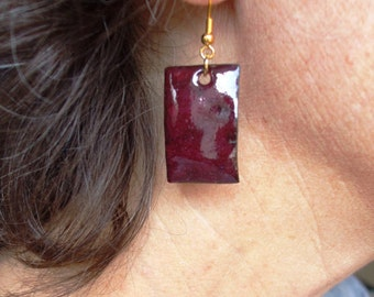 Enameled Ruby Copper Earrings - Hammered and Torchfired - Gold-tone Earring Hooks