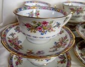 Vintage 1950's, 8 Sets Floral Tea Cups And Saucers,  Macy's Czechoslovakia, Replacements