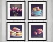 Disounted Set of Four Photographs, Macarons and Tulips, Kitchen Art , Still Life Photography, Macaron Photos, Spring Decor, 4 Prints, Pink,