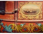 Gypsy Caravan Photograph, Fine Art Print, Carnival Photogaphy, Rustic Photo, Still Life, Orange, Rich Colors,Vintage Tones, Orange Color