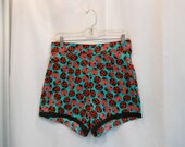 All Cotton High Waist Shorts High Waisted Shorts with Ladybug Print Red Ladybugs Print 1950s Style Pin Up Brief Shorts Size Small to Medium