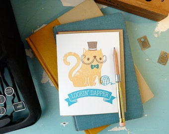 Looking Dapper Cat Letterpress Card