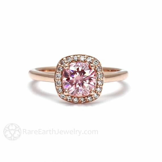 pink moissanite ring pink engagement ring petite by rareearth
