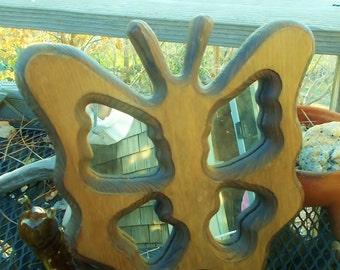 Very Kawai Butterfly Wood Frame Mirror a 70s Hippie era Classic Smallish Size Wall decor