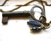 Iolite Necklace, Skeleton Key Necklace, Iolite Gemstone Brass Chain Charm Strand Necklace, Birthstone Jewelry, Iolite Jewelry