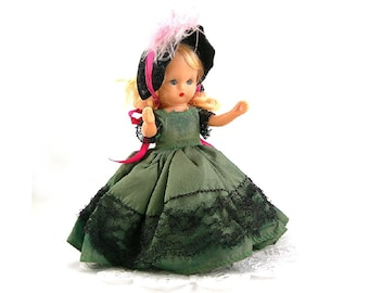 Nancy Ann Storybook Doll, Vintage c1940s, Blonde, Sleepy Blue Eyes, Green Gown, Black Lace, Hat and Undies