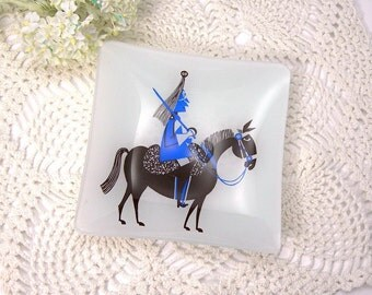 "Bent Glass Dish, 5-1/2"" Square, Mid Century Modern, Vintage c1960s, Comical Blue Soldier on Brown Horse, Collectible Glass"