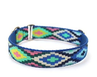 "1"" Cayucos Blue buckle or martingale dog collar"