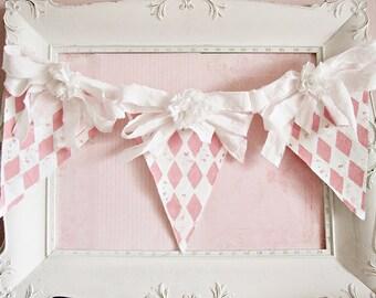 Shabby Chic Nursery Banner, Valentine's Day Decor, Girl Nursery Decor, Shabby Chic Decor, Pink and White Nursery Decor, Valentine's Banner