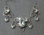 Crystal bridal necklace pear Edwardian antique style silver or brass filigree wedding jewelry Titanic victorian elegant