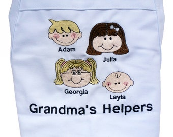 Grandma Apron - Mother's Day Gift to Grandma From the Kids Custom Embroidered and Personalized