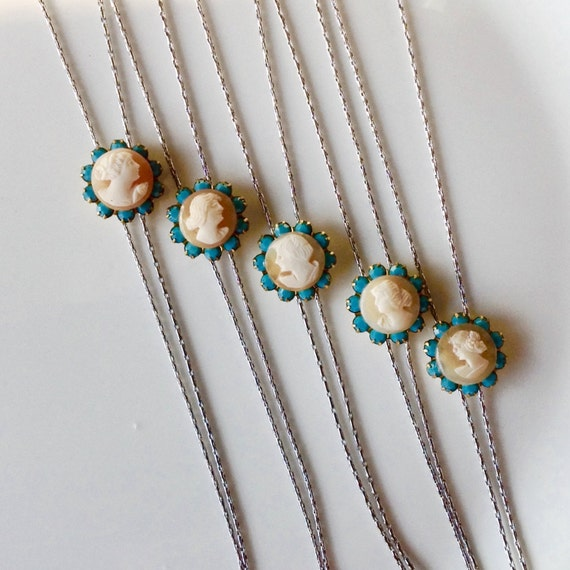 Unique Bridesmaid Gifts Vintage Cameo Lariat Y Necklace Teal Wedding Jewelry