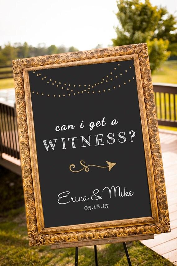 printable can i get a witness gold wedding decor black