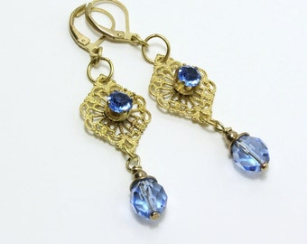 Earrings Vintage Rhinestones Blue Glass Beads Brass Filligree