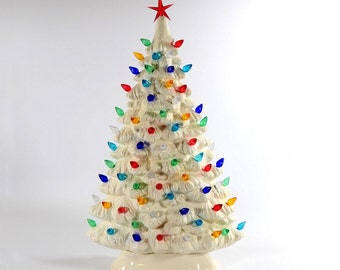 ceramic christmas etsy - Porcelain Christmas Tree With Lights