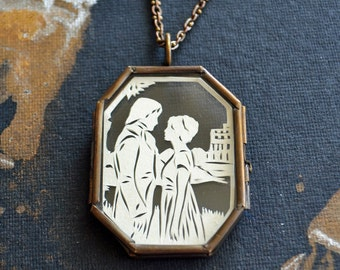 Sale 20% Off // PRIDE AND PREJUDICE Locket - Hand-Cut Miniature Silhouette Papercut Locket Necklace // Coupon Code SALE20