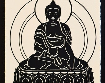 Sale 20% Off // BUDDHA Papercut - Hand-Cut Silhouette // Coupon Code SALE20