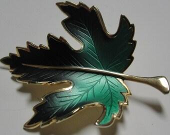 Vintage Green Maple Leaf Brooch