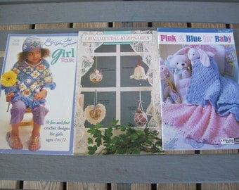 Set of 3,Crochet,Pamphlets,Pink and Blue,Baby,Ornamental,Keepsakes,Sugar N Cream,Girl Talk,Crafts,Supplies,Leisure Arts