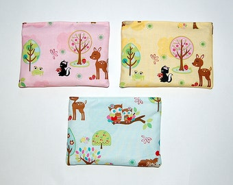Hoo's In The Forest - SET of 3 Eco Friendly Reusable Snack Bags (Pink, Blue and Yellow)